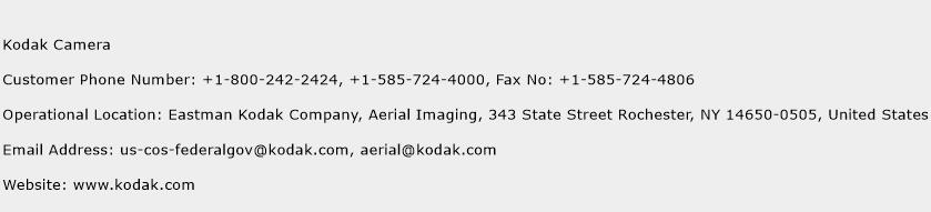 Kodak Camera Phone Number Customer Service
