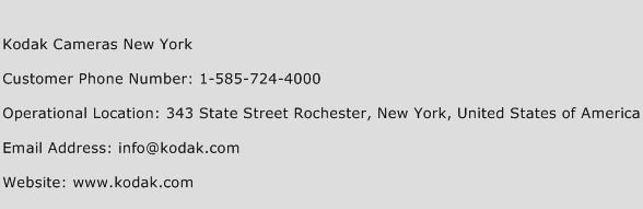 Kodak Cameras New York Phone Number Customer Service