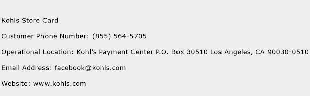 kohls card customer service phone number contact number