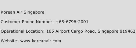 Korean Air Singapore Phone Number Customer Service