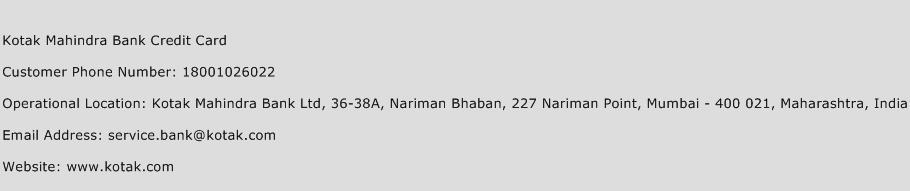 Kotak Mahindra Bank Credit Card Phone Number Customer Service