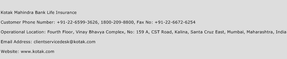 Kotak Mahindra Bank Life Insurance Phone Number Customer Service