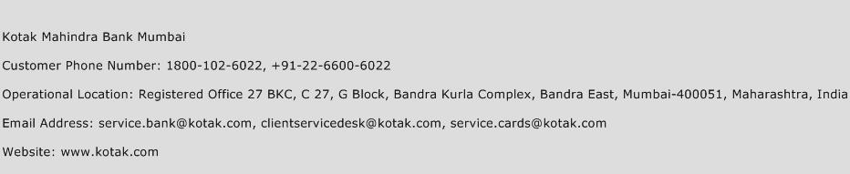 Kotak Mahindra Bank Mumbai Phone Number Customer Service