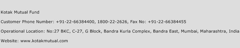 Kotak Mutual Fund Phone Number Customer Service