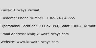 Kuwait Airways Kuwait Phone Number Customer Service