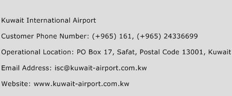 Kuwait International Airport Phone Number Customer Service