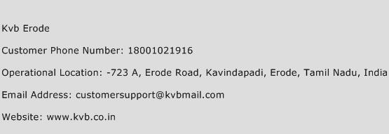 Kvb Erode Phone Number Customer Service