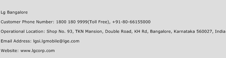 LG Bangalore Phone Number Customer Service