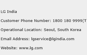 LG India Phone Number Customer Service