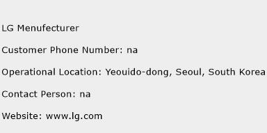 LG Menufecturer Phone Number Customer Service