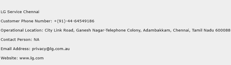 LG Service Chennai Phone Number Customer Service