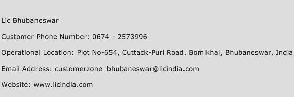 LIC Bhubaneswar Phone Number Customer Service