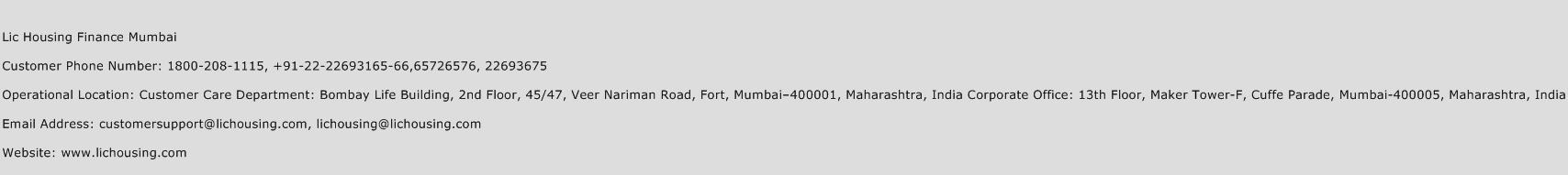 LIC Housing Finance Mumbai Phone Number Customer Service