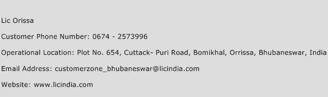 LIC Orissa Phone Number Customer Service
