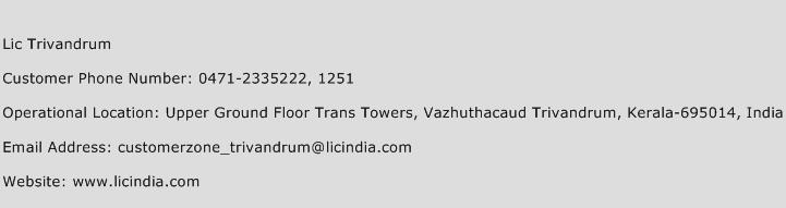 LIC Trivandrum Phone Number Customer Service