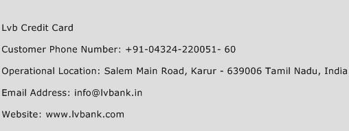 LVB Credit Card Phone Number Customer Service