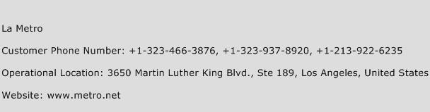 La Metro Phone Number Customer Service