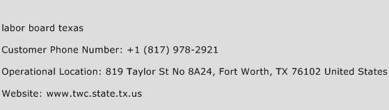 Labor Board Texas Phone Number Customer Service