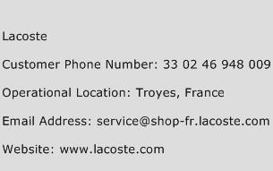 Lacoste Phone Number Customer Service
