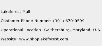 Lakeforest Mall Phone Number Customer Service