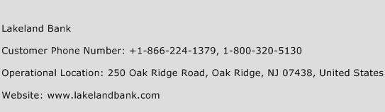 Lakeland Bank Phone Number Customer Service