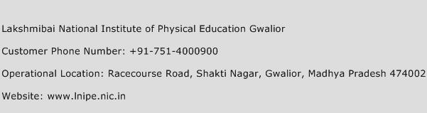 Lakshmibai National Institute of Physical Education Gwalior Phone Number Customer Service
