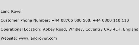 Land Rover Phone Number Customer Service