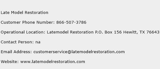 Late Model Restoration Phone Number Customer Service