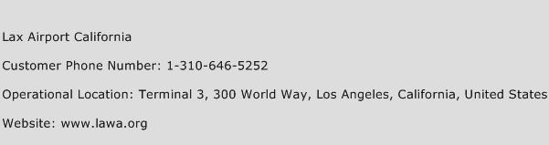 Lax Airport California Phone Number Customer Service