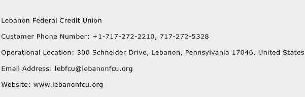 Lebanon Federal Credit Union Phone Number Customer Service