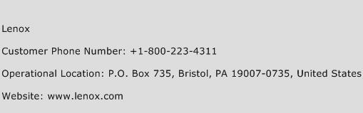 Lenox Phone Number Customer Service