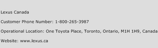 Lexus Canada Phone Number Customer Service