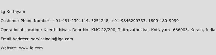 Lg Kottayam Phone Number Customer Service
