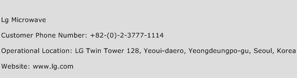 Lg Microwave Phone Number Customer Service