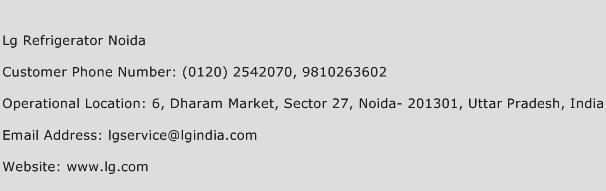 Lg Refrigerator Noida Phone Number Customer Service