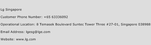 Lg Singapore Phone Number Customer Service