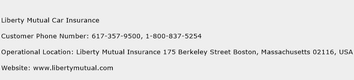 Liberty Mutual Car Insurance Phone Number Customer Service