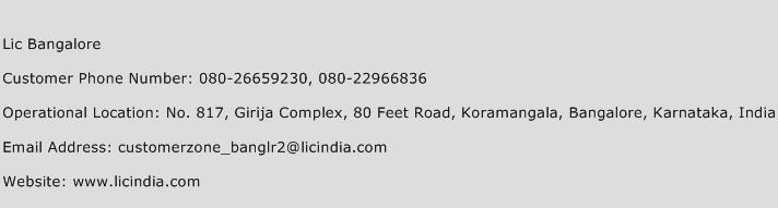 Lic Bangalore Phone Number Customer Service