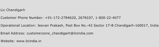 Lic Chandigarh Phone Number Customer Service
