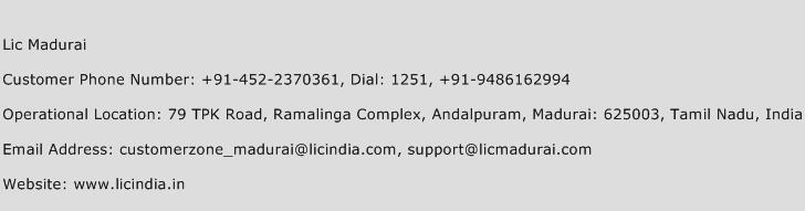 Lic Madurai Phone Number Customer Service
