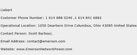 Liebert Phone Number Customer Service