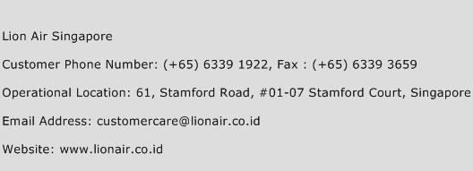 Lion Air Singapore Phone Number Customer Service