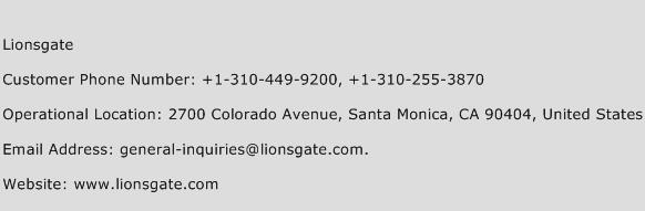 Lionsgate Phone Number Customer Service