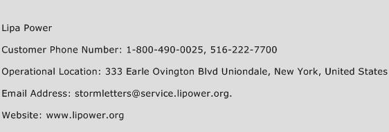 Lipa Power Phone Number Customer Service