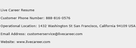 Live Career Resume Phone Number Customer Service