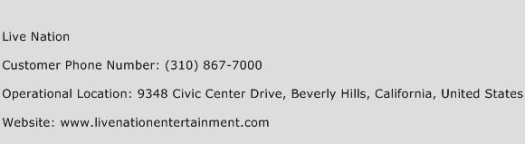 Live Nation Phone Number Customer Service