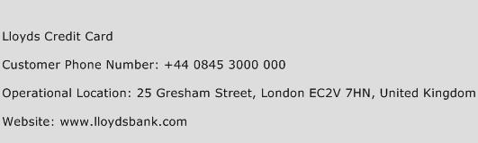 Lloyds Credit Card Phone Number Customer Service