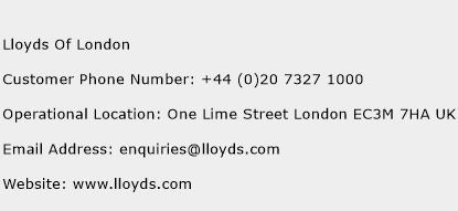 Lloyds Of London Phone Number Customer Service