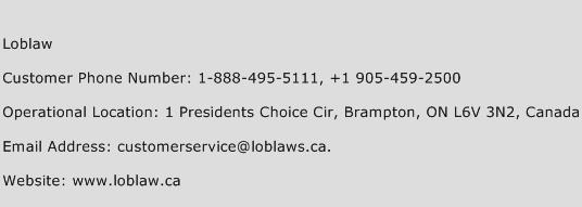Loblaw Phone Number Customer Service