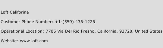 Loft Califorina Phone Number Customer Service